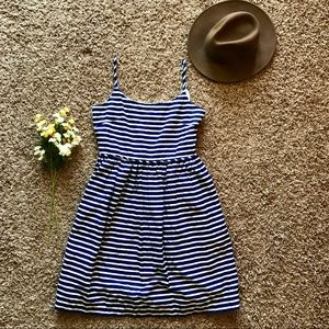 J.Crew Linen Blend Striped Fit & Flare Cami Dress